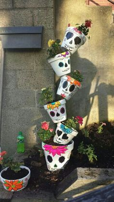 Sugar Skull Flower Pot Hand Painted | diy clay pot ...