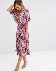 ASOS | ASOS Pink and Gray Iris Soft Midi Pencil Dress