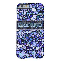 Blue Stained Glass iPhone 6 Case A very pretty case featuring a blue stained glass look. #glitter #glittery #sparkle #blue #stained #glass #name customize...