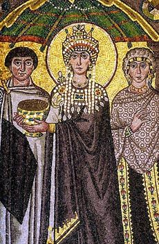 Ravenna, Italy -- Beautiful Byzantine mosaics.  Portrait of Empress Theodora by San Vitale.