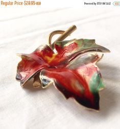 VINTAGE Enamel Leaf Brooch  Large Maple Leaf  Red Green Orange Autumn  on Gold by StudioVintage on Etsy