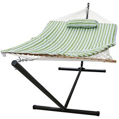 Sundale Outdoor Stripe Cotton Rope Hammock with 12 Feet Steel Stand Quilted Polyester Pad and Pillow Green Stripe ** This is an Amazon Associate's Pin. Locate the item on Amazon website simply by clicking the VISIT button