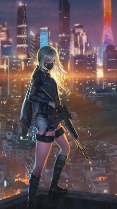 samsung wallpaper sniper girl, cityscape, anime girl … – About Anime Manga Kawaii, Chica Anime Manga, Kawaii Anime Girl, Cool Anime Girl, Anime Art Girl, Anime Girls, Anime Warrior, Warrior Girl, Anime Fantasy