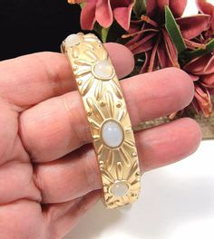 Beautiful Hinged Bangle Bracelet Satin Finish Gold Tone Cabochon Stones NICE!