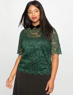 Lace Collared Top   Women's Plus Size Tops   ELOQUII