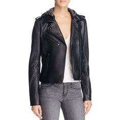 Linea Pelle Hooded Leather Moto Jacket ($640) ❤ liked on Polyvore featuring outerwear, jackets, black, punk jacket, punk rock leather jacket, hooded biker jacket, leather biker jackets and hooded motorcycle jacket
