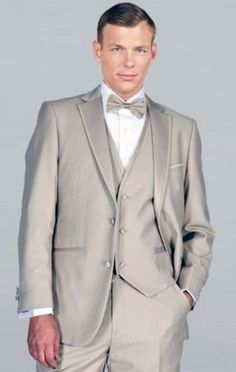 #Beige #framed #notch lapel with #vest #microfiber #wedding #tuxedos.Only $185