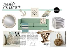 """""""seaside home"""" by rehannah-o ❤ liked on Polyvore featuring interior, interiors, interior design, home, home decor, interior decorating, Pottery Barn, CB2, Dot & Bo and Sunpan"""