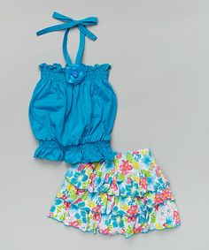 This Turquoise Halter Top & Floral Skirt - Toddler & Girls is perfect! #zulilyfinds
