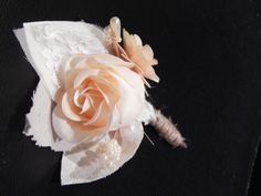 ivory paper and lace rose boutonniere. fabric flowers made by lissy allyse designs