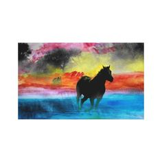 Colorful Horses Running in Fog Canvas