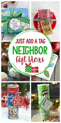 These easy neighbor gifts for Christmas just need a tag added-that's it! Plus they are fun ideas your neighbors will actually like. #christmas #christmasgifts