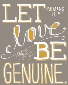 Bible Verse Art-  Let Love Be Genuine - 8x10 Giclee Print - Scripture Art, Wedding, Taupe, Gray, Grey, Mustard, Home Decor. $18.00, via Etsy.