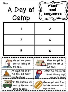 Practice sequencing skills with this printable. Three different versions available for different levels. Students read each strip and place them in order.This is from my August Literacy Centers.