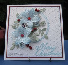 Hi everyone, Pam here sharing a quick make Christmas card. My favourite colours for Christmas cards. Square card 6.1/2