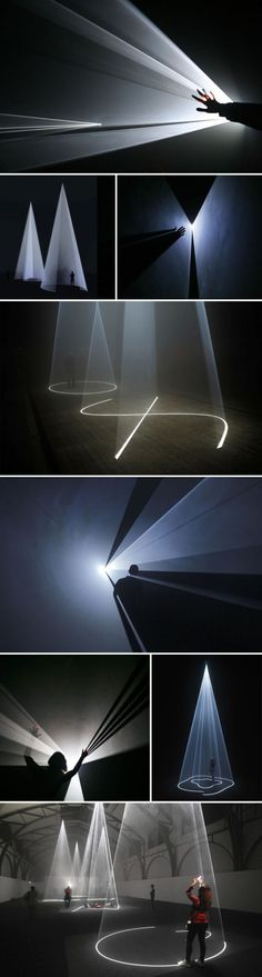 Five Minutes of Pure Sculpture by New York based artist Anthony McCall who has been creating unique light installations since the with a break in between. I like the idea of using light to create sculpture. Sculpture Art, Sculptures, Vitrine Design, Instalation Art, Licht Box, Projection Mapping, Projection Screen, Interactive Art, Interactive Installation