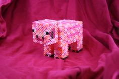 3D Minecraft Pig Figure  Made of Perler Beads. $15.00, via Etsy.