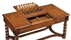 high end furniture game coffee table Chess and backgammon pieces included. Walnut.  bernadettelivingston.com