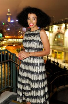 fashizblackdiary:  Solange Knowles wearing a BOSS FW14 by Jason Wu dress last night in Hong Kong, during Hugo Boss's store opening party.