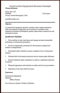 Construction Equipment Manager Sample Resume Fair Here Goes Another Resume Example Of Construction Equipment Resume .