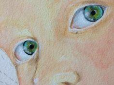 10) Formate una tinta grigio/azzurra con lo slate grey + titanium white + blue chiffon, diluite e ombreggiate la parte superiore della sclera. Bagnate la piccola zona degli occhi a sinistra e, bagnato su bagnato, sgocciolate poco (POCO) coral rose. Fate lo stesso per la luce riflessa degli occhi usando il titanium white. Quando la carta è asciutta dipingete col liner una delicata linea col il raw umber diluto nella parte sinistra degli occhi (appena, appena)