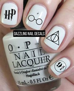 Harry Potter Nail Decals by DazzlingNailDecals on Etsy Harry Potter Nail Art, Harry Potter Nails Designs, Diy Nails, Cute Nails, Pretty Nails, Taylor Swift Nails, Volleyball Nails, Packer Nails, Nail Art Vernis