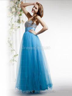 A-line Sweetheart Tulle Floor-length Blue Beading  Evening Dress