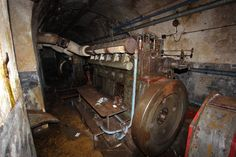 Maginot Line, France. Only one deisel engine remains now. Owners of the private museum forts regularly pillage the abandoned forts for spare parts and artifacts.