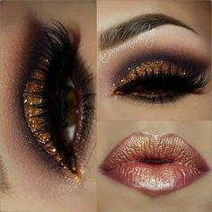 Dark glam  with hints of gold on eyes and lips