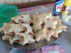 American Girl star shaped sandwiches. Ham and cheese and pb.