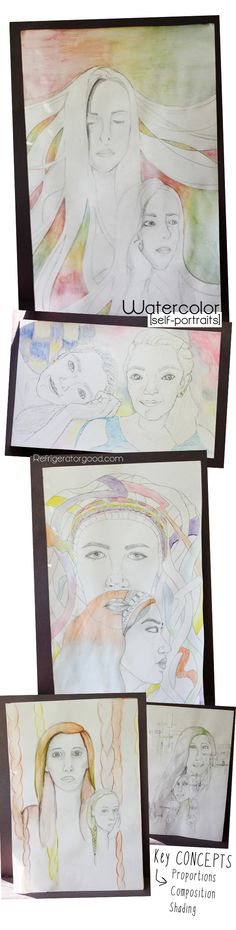 High School Art lesson: Double watercolor Self portraits // Art II