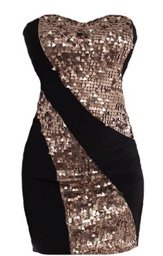 Holiday Swirl Dress: Features an ultra feminine sweetheart neckline, matte black foundation with glittering ash gold swirls to the front, solid black backside, and a sexy body-conscious silhouette to finish.