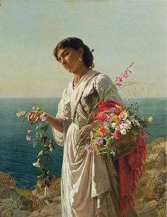 ✨ Sophie Anderson (1823-1903) - The flower girl, Capri, signed and inscribed 'S. Anderson/ Capri' (lower right), oil on canvas, 36 x 28 in. (91.4 x 71.2 cm.)
