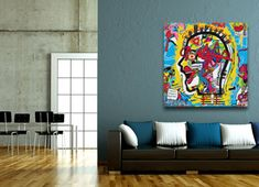 """Head Fuck"" by Sam Freek. Contemporary, abstract canvas art for the modern home. #canvasart #abstract #wallart #art #urbanart - www.didgiwidgi.co.uk"