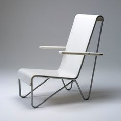 This chair (beugelstoel or tube-framed chair) designed in 1927 by the Dutch architect and designer, Gerrit Rietveld, is representative of the very earliest adoption of tubular steel, and unique in its early combination with wood not seen again until the furniture of Ray and Charles Eames after WWII.