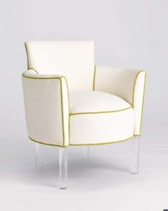 like the lucite legs on this barrel chair.