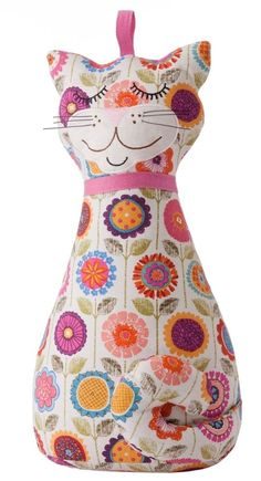 Ulster Weavers Cotton Cat Shaped Door Stop Crazy Flower Pattern - 8CAT3512