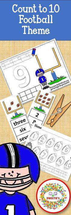Learn to count to 10 with this football-themed activity package!  Number Mats, Clip Cards, and a worksheet.  #teachersfollowteachers #teacherspayteachers