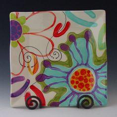 Plato plato cerámica colorido plato plato servir por romyandclare                                                                                                                                                     Más