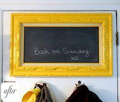 diy chalkboard frame good idea for wedding or home. Magnetic Chalkboard, Framed Chalkboard, Blackboard Chalk, Magnetic Paint, Black Chalkboard, Chalkboard Ideas, Frame It, Diy Frame, Chalk It Up