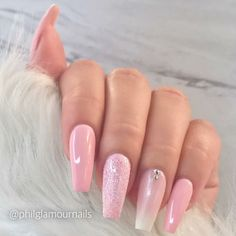 Ballerina Nails. Pink Nails. Ombre Nails. Glitter Nails. Spring Nails.
