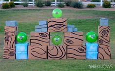 Make this into a candy themed angry birds.How to make a life-size Angry Birds game Church Carnival Games, Carnival Games For Kids, Games For Teens, Kids Party Games, Diy Games, Prom Games, Spy Party, Wedding Games, Life Size Games