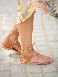 Crète Lace Up sandales cuir naturel, Womens Lace Up sandales, sandales en cuir s'amarrer, Crète Tan élégant Lace Up chaussures plates de la femme,