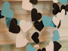 Paper Garland 10ft Tiffany Blue Black and White Paper Hearts Wedding Decor Bridal Shower Decor Photo Prop You Pick the Color on Etsy, $12.50