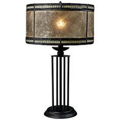 Palmer Mica Filigree Antique Black Table Lamp