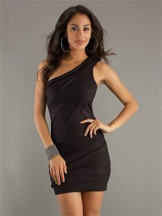 Slim-line One Shoulder with Pleatings Mini Length Homecoming Dress HD1185 www.homecomingstore.com $114.0000