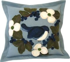 """Bird & Bloom"" design collection - pillow made from wool fabric and wool roving."