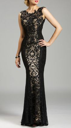 Lara Detailed, Embroidered Lace Gown