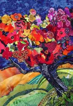 Susan Minier - Leaning Tree - fabric collage
