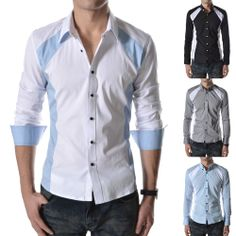 Mens Contrast Dress Shirts Casual Cotton Tops Spandex Solid Button-Down New N330